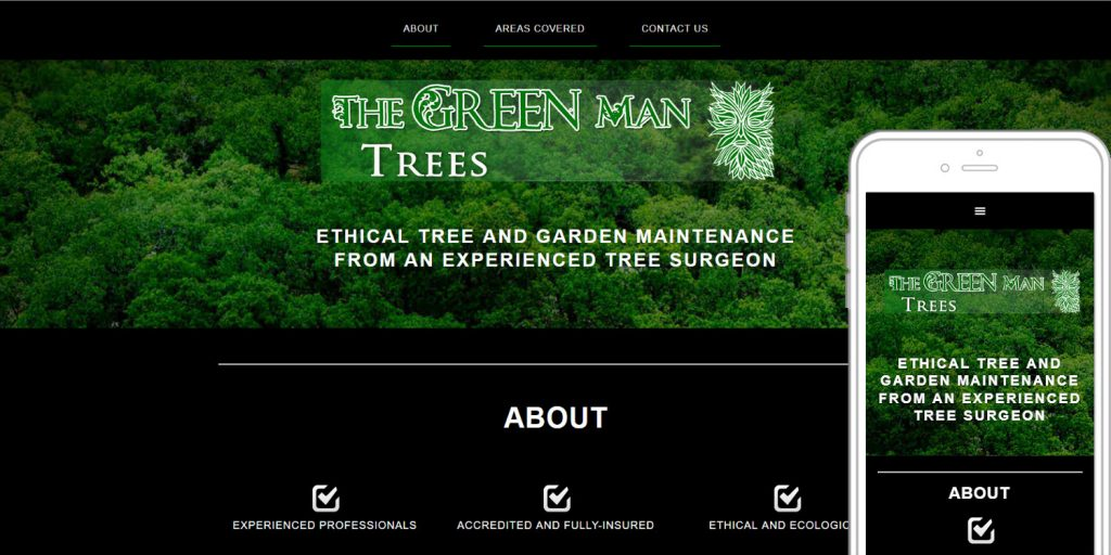 Completed website design for The Green Man Trees