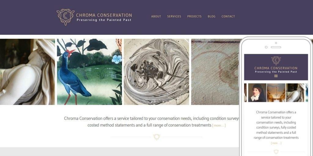 Completed website design for Chroma Conservation