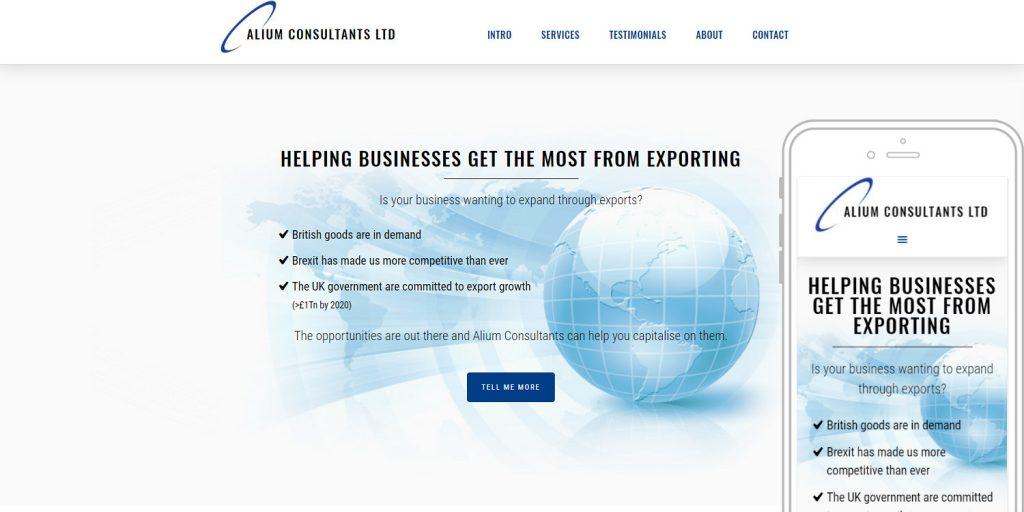 Completed website design for Alium Consultants