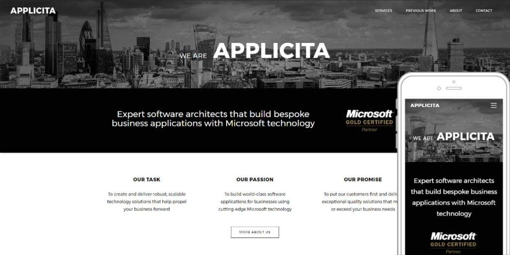 Conceptual website design for Applicita