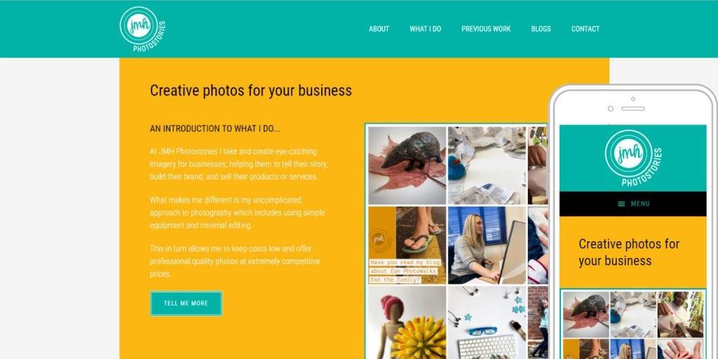 Completed website design for JMH Photostories